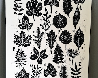 A to Z of leaves Original A4 woodcut Block relief  Print