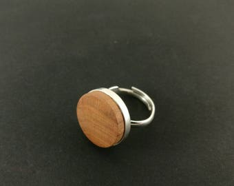 Ring by Wūūd - Sterling Silver (925) and Natural Cherry Wood