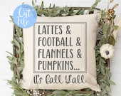Fall word list svg, Lattes and Football and Flannels and Pumpkins, It 39 s Fall Y 39 all, DIGITAL CUT FILE