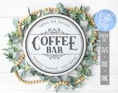 Round Coffee Bar svg, Open 24 Hours, Freshly Brewed, Self Serve svg, Kitchen Decor svg, Silhouette, Cricut, DIGITAL CUT FILE