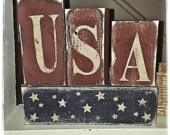 Wooden Americana Block Set Decor Primitive Home USA