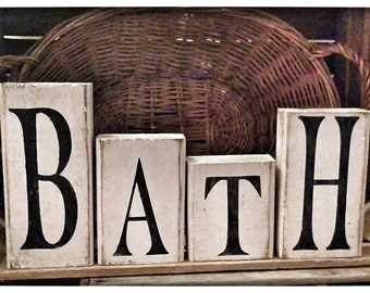 Bath Block Set|Americana Decor|Americana Block Set|Primitive Decor|Primitive  Home Decor|Americana Decor| Decor| Rustic Decor| Bathroom Decor