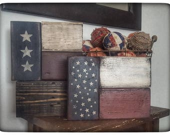 Charming Wooden Americana Flag Block Set Americana Decor Americana Block  Set Primitive Decor Primitive Home Decor USA Americana Decor Americana