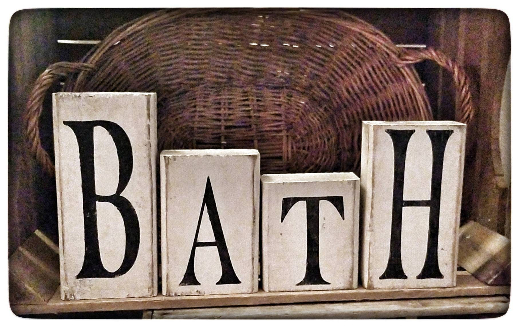 Bath Block Set Americana Decor Americana Block Set Primitive Decor Primitive Home Decor Americana Decor Decor Rustic Decor Bathroom Decor