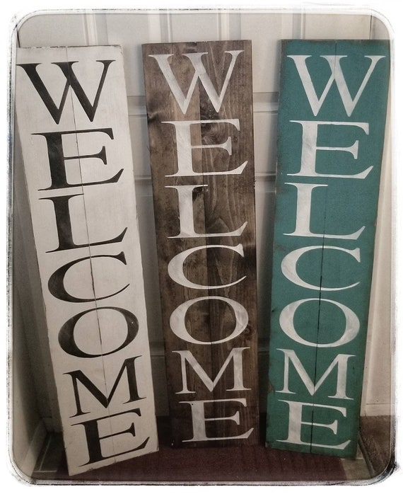 Rustic Wood Welcome Sign For Porch Rustic Welcome Sign Etsy