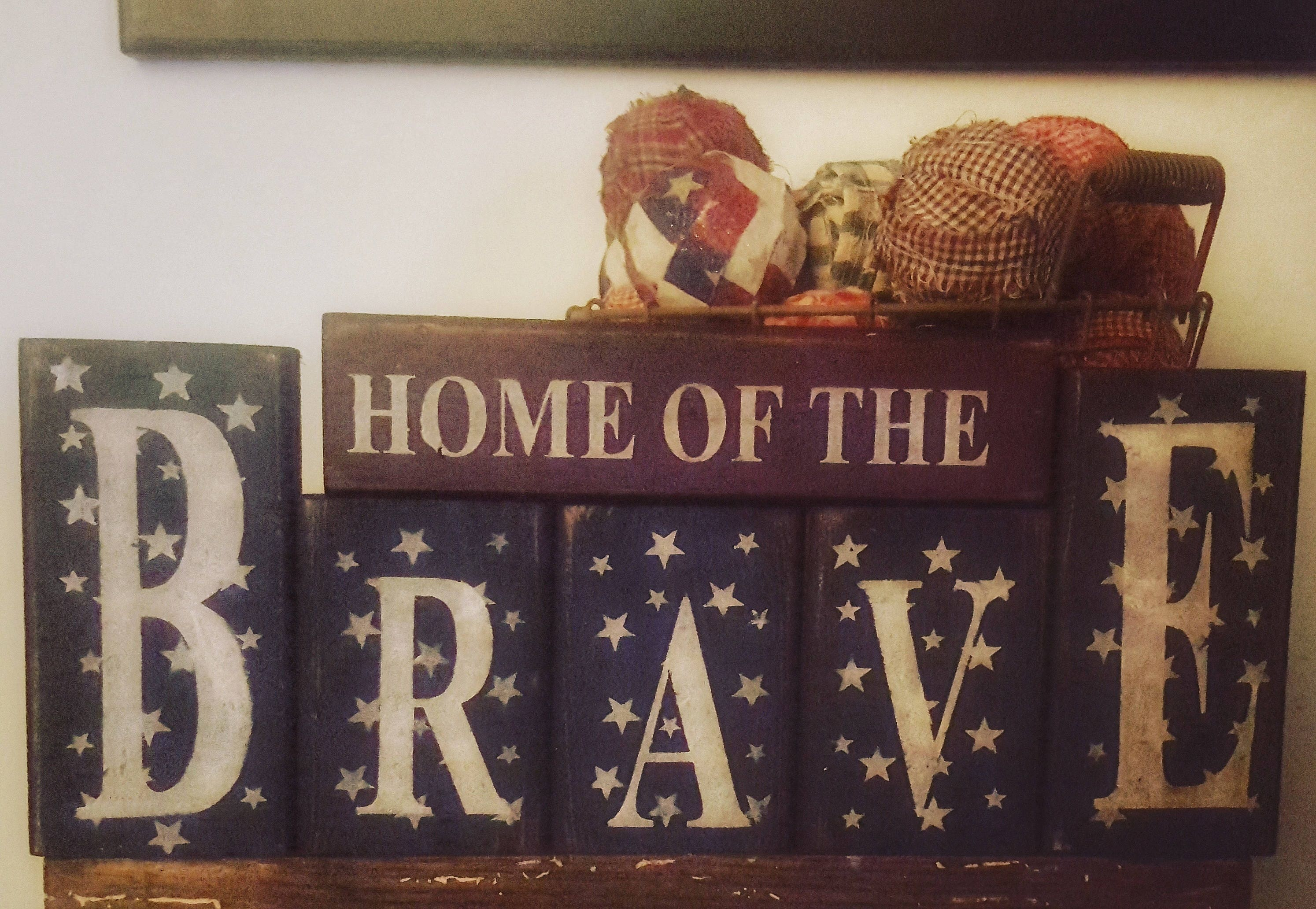 Nice 6pc.Home Of The Brave Wooden Block Set/Americana | Etsy