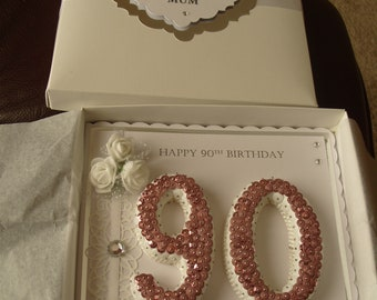 Handmade Ladies 90th Birthday Card Personalised