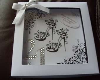 Handmade Personalised 21st Birthday Card - Boxed