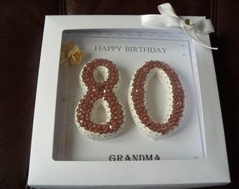 Handmade Personalised 80th Birthday Card - Boxed
