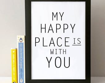 digital print, happy place, wall print, quote print, quote, cute quote, cute print, love print, wall art, print, art print