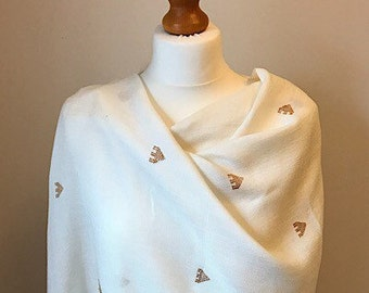 Wedding shawl, ladies summer scarf, lightweight scarf, cream evening wrap, beach cover up, gift for her, womans present, bridesmaids gift