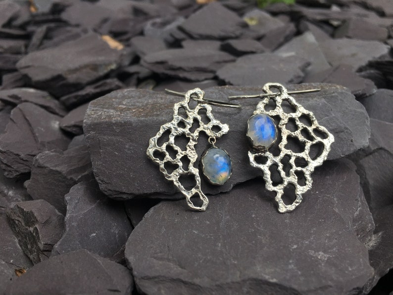 Handmade Unique Asymmetrical Sterling Silver Earrings with Natural Rainbow Moonstones