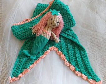 Mermaid Doll and Blanket - Crochet Mermaid Blanket - Crochet Mermaid Doll
