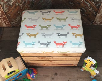 Personalised Fox Toy Box Crate Upholsterered