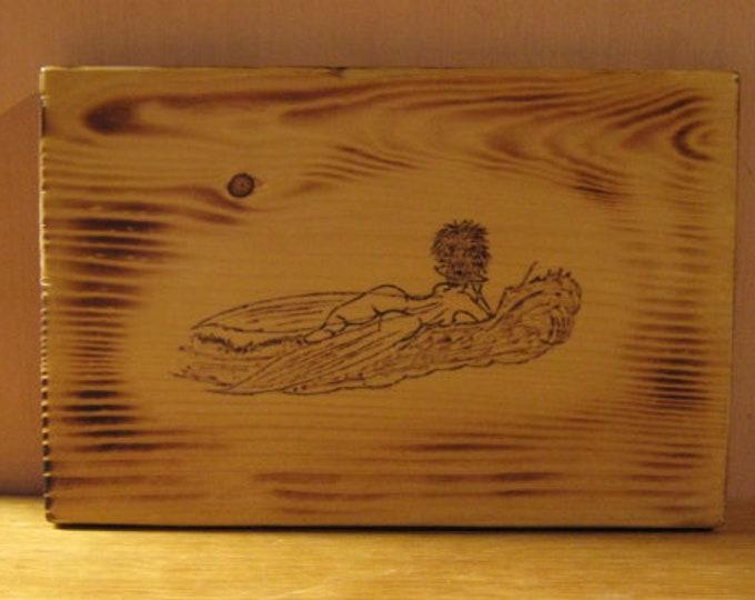 Sunbathing Nude Ferry - Wood Burned Plaque - Wall Hanging