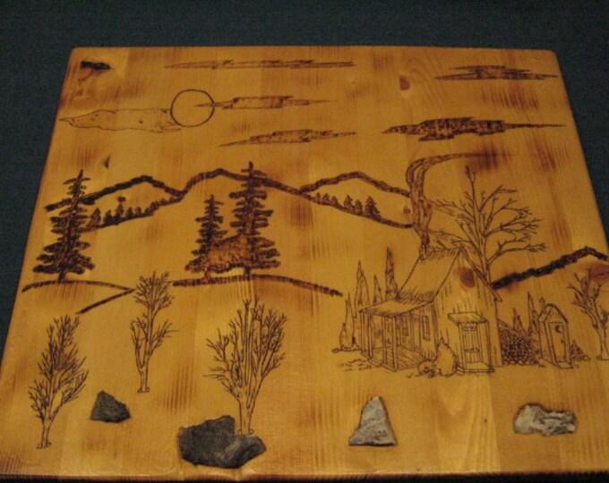 Mountain Cabin Scene - Wood Burned - Wall Plaque