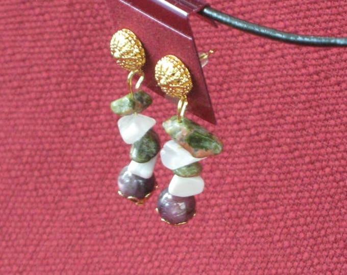 Green Jasper - Amethyst Earrings