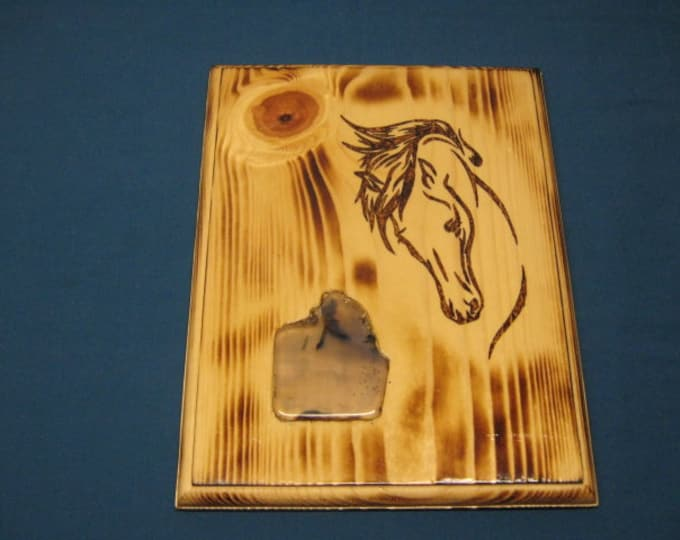 Horse Head - Plumb Agate - Wood Burned Plaque - Wall Hanging
