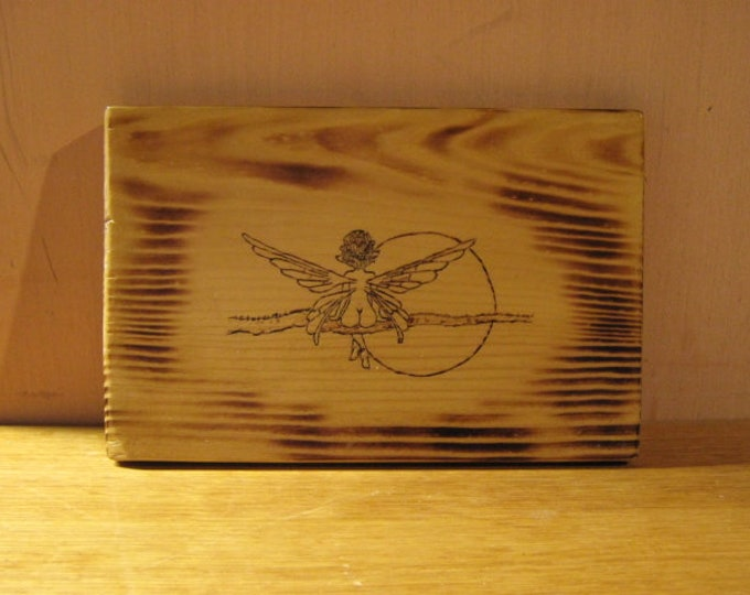 Nude Ferry Enjoying the Full Moon - Wood Burned Plaque - Wall Hanging