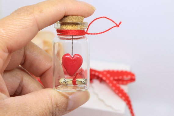 Valentines Day Gift Message In A Bottle Love Note Gifts For Him Gifts For Her Miniature Glass Bottle