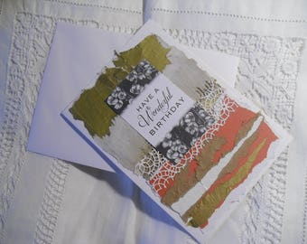 Hand-made collage Birthday card using recycled materials
