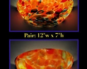 Hand-blown Art Glass-Pair of Quarter Round Wall Sconces-12x7 quot Vintage Lighting-UL Listed-4 LED Candellabra bulbs incl. (CHRISTMAS gift )