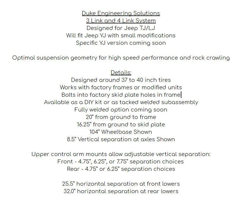 Jeep Wrangler TJ/LJ/YJ Link Suspension Kit