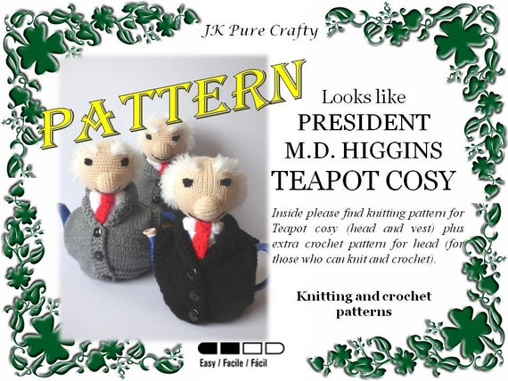 Pattern For President Michael D Higgins Teapot Cosy Michael