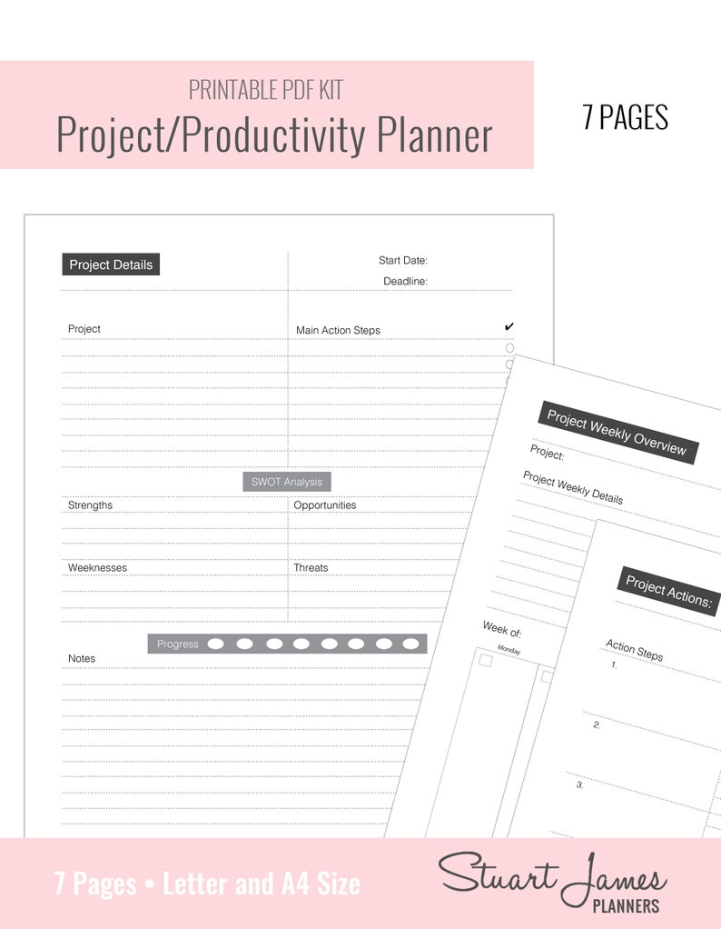 Project Management, business planner, Project Planner, Productivity  Printable, Project Organizer, Project Tracker, Productivity