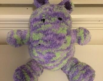 Super soft and cuddly stuffed toy hippo. Amigurumi, animal, toy, handmade