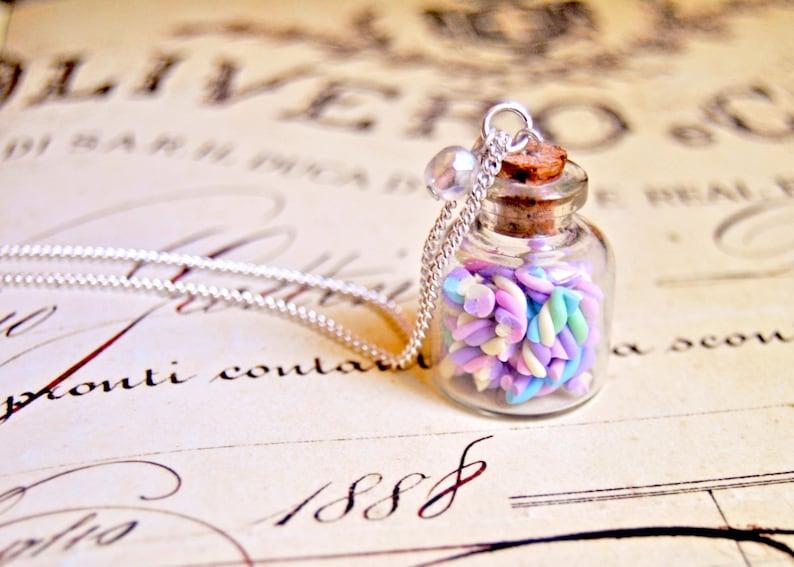 food jewelry bottle necklace Handmade miniature polymer clay marshmallow bottle necklace miniature food jewelry
