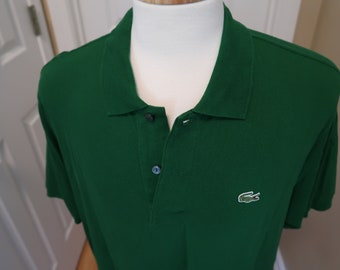 Vintage Lacoste Shirt Polo Green Logo Short Sleeved Quarter Button Up Top Festival Polo Style Casual Elegant 90s