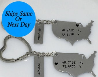 Best Friend Engraved Keychain, Best Friend Gift, Long Distance Friendship, Long Distance Keychain, Best Friend Keychain, Gift for Her