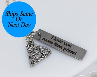 Pizza Necklace, Pizza Charm Necklace, Silver Pizza Necklace, Engraved Necklace, Best Friend Necklace, Best Friend Gift, Gift for Her