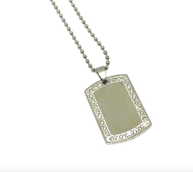 Custom Text Necklace Mother/'s Day Gift Crystal Dog Tag Necklace Engraved Necklace Custom Necklace Dog Tag Necklace Crystal Dog Tag