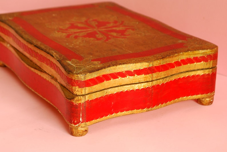 Footed vintage wooden box red gold Victorian wooden Jewelry Box Ring Box Vintage gilded wooden Box Trinket Antique wooden gilded box