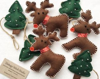 Reindeer Garland - Christmas Garland - Christmas Bunting - Felt reindeer & Christmas tree garland