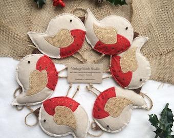 Christmas Garland - Christmas Bunting - Robin - Scandi Christmas - Christmas Decorations - Christmas Robin - Nordic Christmas