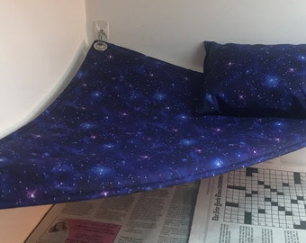 Blue Star Pattern Reptile Hammock, Pillow with Matching Set - Free Shipping