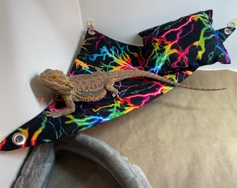 Color lightning Pattern Reptile Hammock, Pillow with Matching Set - Free Shipping