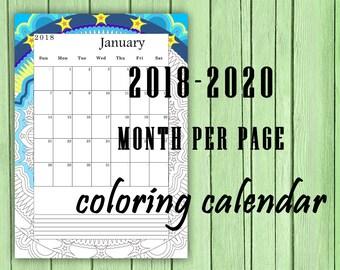 Calendar 2018 2019 2020 Printable Calendar Monthly