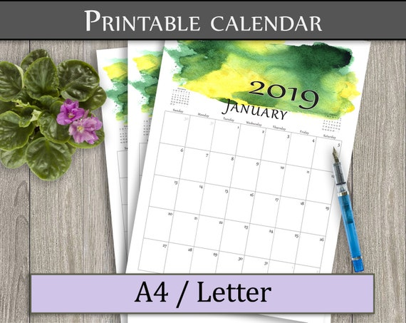 Monthly calendar PDF  Printable wall calendar 2019