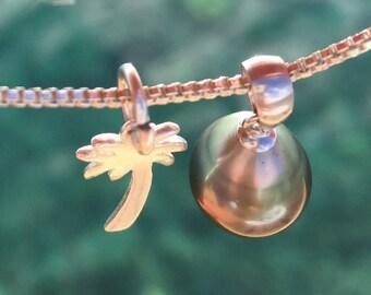 Tahitian pearl drop necklace, silver, Tahiti pearl, Tahitian jewelry, irridescent
