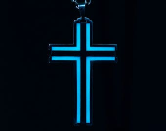 Cross Necklace, Glow in the Dark Necklace, Stainless Steel Necklace, Christian Necklace, Boy cross necklace, Fathers gift, Men cross pendant