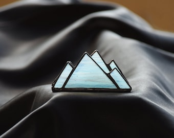 Unique Blue Mountains Stained Glass Business Card Holder