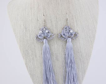 Silver  crocheted earrings