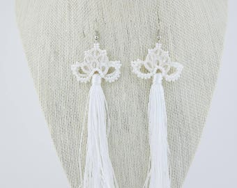White crocheted earrings