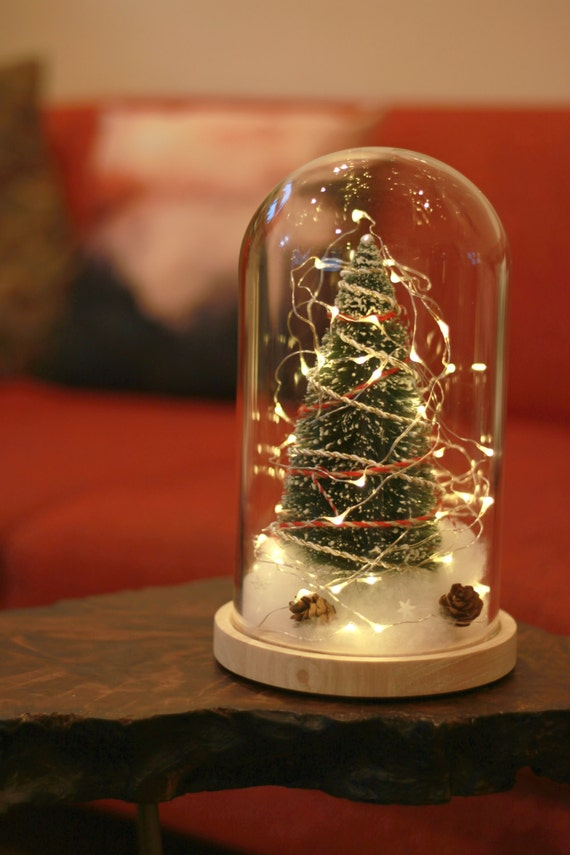 Clear Glass Dome Display Christmas Tree Fairy Lights Glass Dome Big Bottle Brush Christmas Tree Glass Cloche