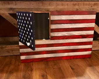 Large Rustic American Flag, Concealed Weapon Flag Cabinet, Wooden American  Flag, American Flag Wall Art, Weathered American Flag,