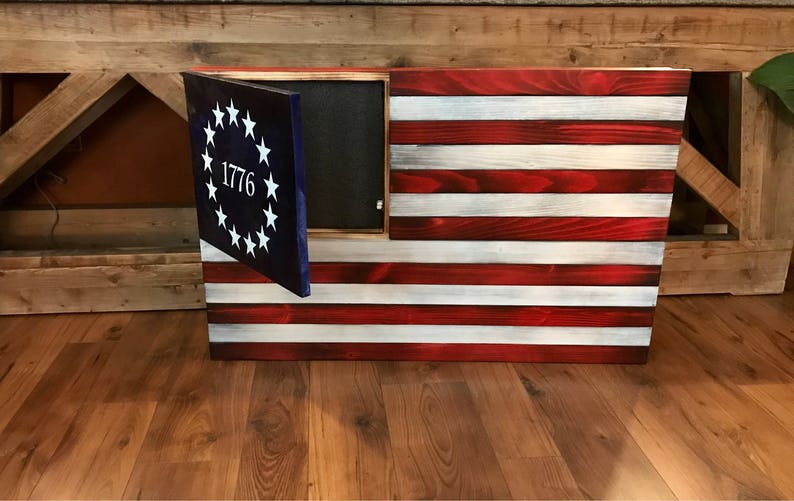 Rustic American Flag Concealed Weapon Flag Cabinet Wooden American Flag American Flag Wall Art Weathered American Flag